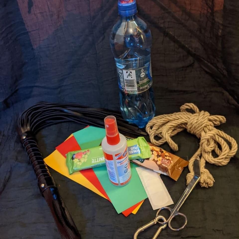 Eine Flasche Wasser, ein Fruchtriegel, eine Packung Nüsse, ein Seil, eine Schere, ein Flogger, Desinfektionsmittel und ein Pflaster sowie Farbkarten (gelb rot grün) liegen nebeneinander.